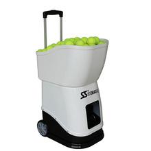 Black and white tennis trainer machine