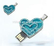 Blue/green heart usb flash drive, blue heart usb stick, green diamond jewelry usb key pen