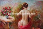 Handmade impressionist human figure art oil painting of woman
