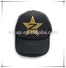 Printed Five-Point Star Black Mesh Trucker Caps Snapback Mesh Trucker Cap