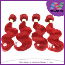 Newness factory wholesale double weft shedding free remy human hair weft red colored brazilian hair weavon