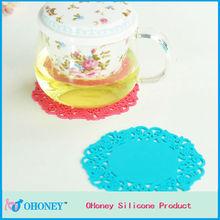 Anti-slip lace silicone pad cute silicone cup mats,tableware decoration silicone cup mats,silicone coaster pad