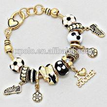 "8"" Length fashion black with white European beads sport them soccer charm bracelet jewelry/soccer shoes charm bracelet"