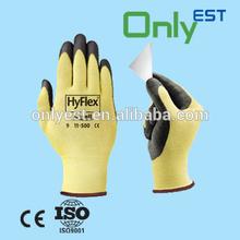Yellow nitrile coat work gloves