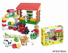 64pcs play farm creative ABS funny building block toy train with EN71