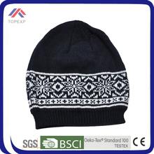 acrylic black jacquard man hat