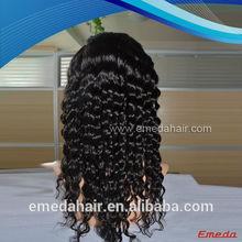 High quality deep wave 100% virgin Peruvian hair full lace wig