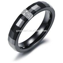 Shining Black Ceramic Ring, Fashion Faceted Ceramic Ring With Stones, High Fashion Wedding Ring
