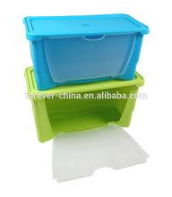 LARGE CLEAR DROP DOWN DOOR PLASTIC STORING BOX