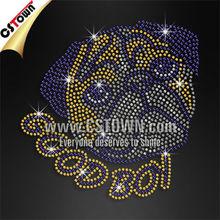 Good bulldog t-shirt crystal rhinestone pattern hot fix motif design