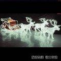Marco de hierro& pvc led luces de navidad en 3d& ciervos decoración de trineo
