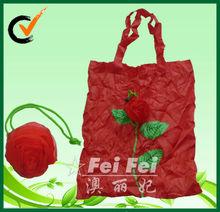 190T polyester foldable shopping bag rose