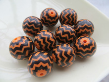 AAA Quality Handmade 16mm to 24mm Orange with Black Waves Solid Zig Zag Chevron Print Resin Chunky Strips Beads for Kids Jewelry