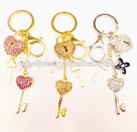 Colorful Cute Lab Create Stone Heart Lock Key Chain