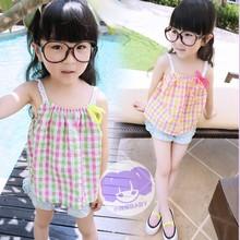 Z80854C Summer fashion checks children tops girl t-shirt