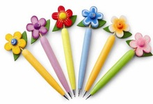 Colorful cotton flower shape ball pen best promotional gifts
