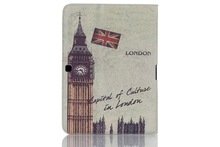 Hot Selling Famous Scenery British American Design Magnetic Leather Smart Case Cover With Stand for Samsung T530