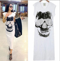 Fashion design ladies clothing sleeveles cotton girl summer skull design long dress