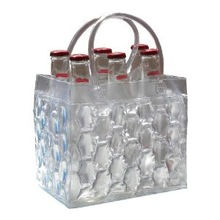 Transparent 6 pack bottle carrier PVC ice cooler wine/beer gel bag
