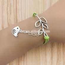 2014 Fashion Lucky Branch Bracelet ,Singing Bird Charm Wax Cords Leather Bracelet
