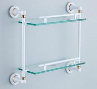 Bathroom Shelves rack Two Tier glass shelf