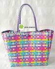 Colorful plastic straw tote bag