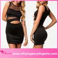 Moda barata preta sexy contraste- cor mini vestido