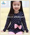 Nova moda eco- friendly manga longa de algodão flor de meninas'dress