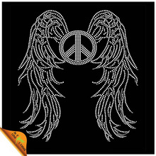 Peace sign and angel wings fashion strass hotfix accessories