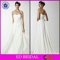 EDW371 Beach Casual Flowing Chiffon Beaded One Shoulder Ghana Wedding Dresses