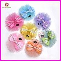 Tulle mesh ballerina flower with bow in center