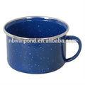 Ss rim, azul aço carbono esmalte caneca de café com branco speckle