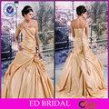 edw389 design feito à mão com contas e um ombro plissados amarelo vestidos para casamentos