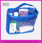cheap recyclable transparent soft PVC shrink zipper plastics rubber cosmetic barrel bag