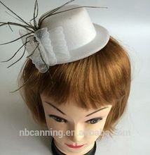 Sombrero de fiesta/partido blanco con sombrero de plumas/sexy de fiesta de carnaval mini sombrero de copa baratos