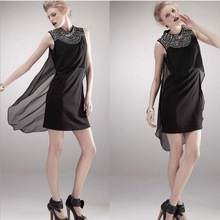 2014 New Style Elegant Bead On Applique Off The Shoulder Solid Color Mid-Waist O-Neck Zipper Sleeveless Trend Dress BE WJX0515