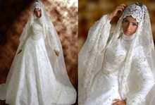 HT118 Elegant lace long sleeves muslim bridal islamic women wedding dresses