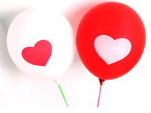 Hot sale round shape 2 color heart design latex wedding party ballon decoration