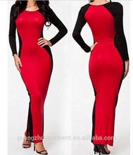 new women sexy club wear black/red long sleeve maxi dress