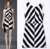 Runway 2014 Newest Summer Women's Fashion Sleeveless V-Neck Black and White Striped Knee-length Slim Dress S-L HA1405