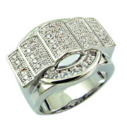 2014 FASHION CZ RING RHODIUM PLATED FOR MEN'S