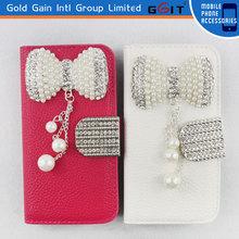 Upscale Diamond Button For Samsung S4 Mini I9190 Flip Cover Case, For Galaxy S4 Mini I9190 Flip Cover Case With Diamond Chain