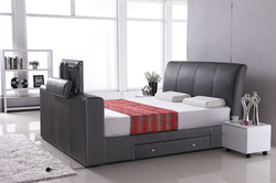 hot sale home furniture customized leather tv beds wood frame OB005-3