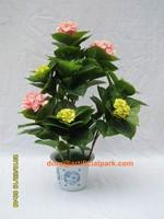 best selling artificial plant hydrangea duble color cloth flower bonsai