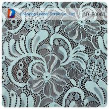 Luz azul del cordón del vintage de la tela con diamantes de imitación elástico spandex tela de encaje venta al por mayor
