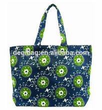 Navy unique plant printing canvas durable bag woman handle tote bag hot sale