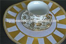 disposable round gold printed sun non woven fibre placemat