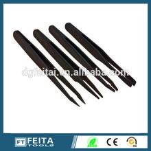 Vetus black anti-static long mini plastic tweezers