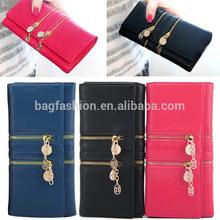 Ladies Double Zipper Chain Two Fold Long Purse Wallet Handbag leather Clutch Bag