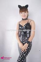 black cat girl Leather bodycon dress; flirt club costumes